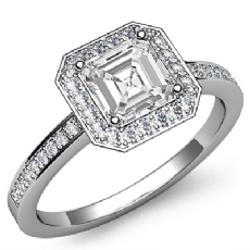 Halo Sidestone Pave Set Asscher diamond engagement Ring in 14k Gold White
