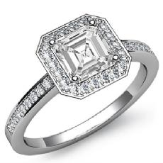 Halo Sidestone Pave Set Asscher diamond engagement Ring in Platinum 950