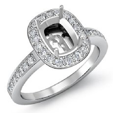 1Ct Diamond Engagement Cushion Shape Semi Mount Ring 14k White Gold Halo Setting