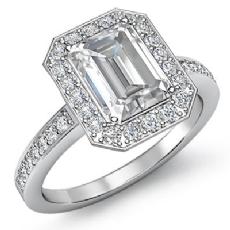 Halo Sidestone Pave Setting Emerald diamond engagement Ring in 14k Gold White