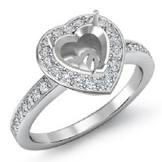 1.0 Ct Diamond Engagement Ring Heart Semi Mount 14K White Gold Halo Pave Setting