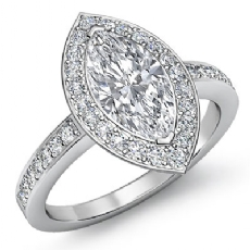 Sidestone Halo Pave Set Marquise diamond engagement Ring in 14k Gold White