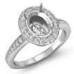 1Ct Diamond Engagement Oval Ring 14k White Gold Halo Pave Setting Semi Mount - javda.com