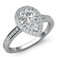 Pave Set Halo Sidestone Pear diamond engagement Ring in 14k Gold White