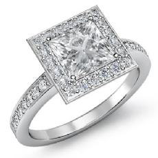 Halo Pave Set Sidestone Princess diamond engagement Ring in 14k Gold White