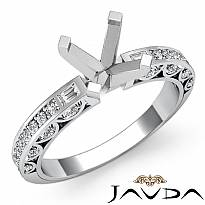 0.35Ct Round Diamond Cathedral Pave Engagement Ring Setting 14k W Gold Semi Mount