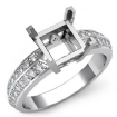 0.3Ct Princess Diamond Engagement Ring Side Stone Setting 14k White Gold Semi Mount - javda.com