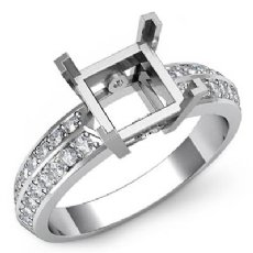 0.30Ct Princess Diamond Engagement Ring Side Stone Setting 14K W Gold Semi Mount