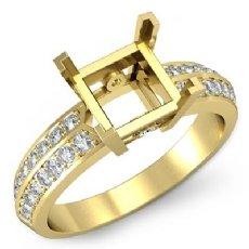 Princess Diamond Engagement Ring Side Stone Setting 14k Gold Yellow Semi Mount (0.3Ct. tw.)