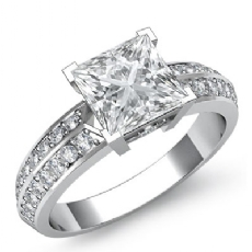 2 Row Shank Pave Set Princess diamond engagement Ring in 14k Gold White