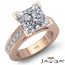 V Prong Peg Head Channel Set Princess diamond engagement Ring in 14k Rose Gold