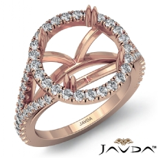U Split Prong Halo Round Semi Mount Diamond Engagement Ring 14k Rose Gold  (0.74Ct. tw.)