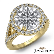 U Split Prong Halo Double Claw Round diamond engagement Ring in 14k Gold Yellow