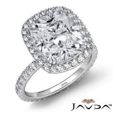 Halo French Pave Eternity Cushion diamond engagement Ring in 14k Gold White