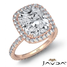 Halo French Pave Eternity Cushion diamond engagement Ring in 14k Rose Gold