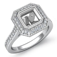 0.50Ct Diamond Engagement Halo Setting Ring Asscher Semi Mount 14K White Gold