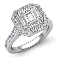 Bezel Setting Halo Pave Asscher diamond engagement Ring in 14k Gold White