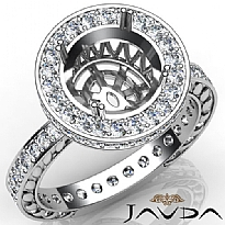 Diamond Engagement Ring Round Semi Mount Platinum 950 Halo Pave Setting (1Ct. tw.)