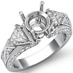Trillion Round Diamond 3 Stone Semi Mount Engagement Ring 14k White Gold Setting 1Ct - javda.com
