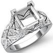 0.7Ct Diamond Antique Engagement Ring Princess Semi Mount Setting 14k White Gold - javda.com