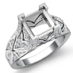 0.7Ct Diamond Antique Engagement Ring Princess Semi Mount Setting 14k White Gold - javda.com