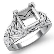 0.70Ct Diamond Antique Engagement Ring Princess Semi Mount Setting 14k White Gold
