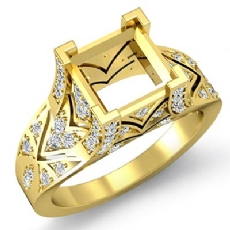 Diamond Antique Engagement Ring Princess Semi Mount Setting 18k Gold Yellow (0.7Ct. tw.)