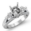 Round Princess Diamond Engagement Three 3 Stone Ring Setting 14k White Gold 0.95Ct - javda.com