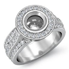 1.65Ct Diamond Engagement Ring Round Semi Mount 14K White Gold Halo Pave Setting