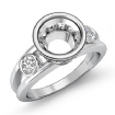 Round Bezel Diamond Engagement 3 Stone Ring Semi Mount 14k White Gold Setting 0.5Ct - javda.com