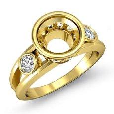 Round Bezel Diamond Engagement 3 Stone Ring Semi Mount 18k Gold Yellow Setting  (0.5Ct. tw.)