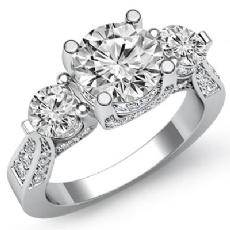 Vintage Style 3 Stone diamond Ring 14k Gold White
