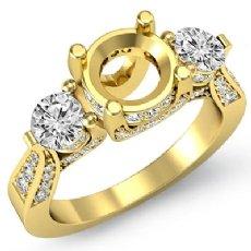 Three 3 Stone Diamond Engagement Ring Round Semi Mount 18k Gold Yellow Setting  (1.2Ct. tw.)