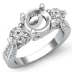 Three 3 Stone Diamond Engagement Ring Round Semi Mount 14k White Gold Setting 1.2Ct - javda.com