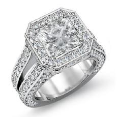 Pave Set Circa Halo Bridge Princess diamond engagement Ring in 14k Gold White