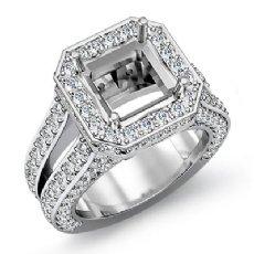 2.52 Ct Diamond Engagement Ring Princess Semi Mount Halo Setting 14k White Gold