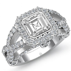 Bezel Halo Cross Shank Pave Asscher diamond engagement Ring in 14k Gold White