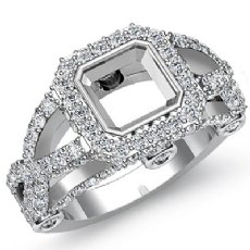 1.40 Ct Diamond Engagement Ring Asscher Semi Mount 14K White Gold Halo Setting