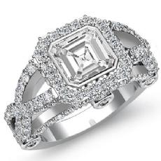 Cross Shank Accent Bridge Asscher diamond engagement Ring in 14k Gold White