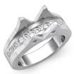 0.85Ct Princess Channel Side Diamond Setting Engagement Ring 14k White Gold Semi Mount - javda.com