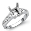 0.85Ct Baguette Channel Diamond Engagement Ring Setting 14k White Gold Semi Mount - javda.com