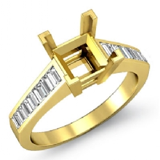 Baguette Channel Diamond Engagement Ring Setting 18k Gold Yellow Semi Mount (0.85Ct. tw.)
