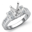 1Ct Diamond Engagement Semi Mount Ring Princess Channel Setting 14k White Gold - javda.com