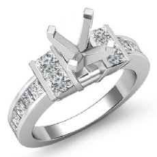 1 Ct Diamond Engagement Semi Mount Ring Princess Channel Setting 14K White Gold
