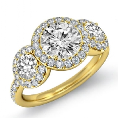 Halo Micro Pave Three Stone diamond Ring 14k Gold Yellow