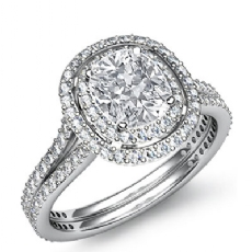 Double Halo Pave Setting Cushion diamond engagement Ring in Platinum 950