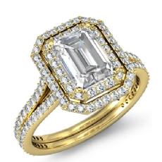 Emerald diamond  Ring in 18k Gold Yellow