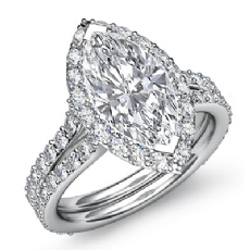Pave Set Side Stone Halo Marquise diamond engagement Ring in 14k Gold White