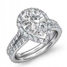 Pave Set Side Stone Halo Pear diamond engagement Ring in 14k Gold White