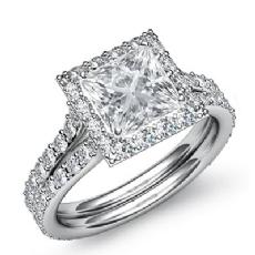 Pave Set Side Stone Halo Princess diamond engagement Ring in 14k Gold White